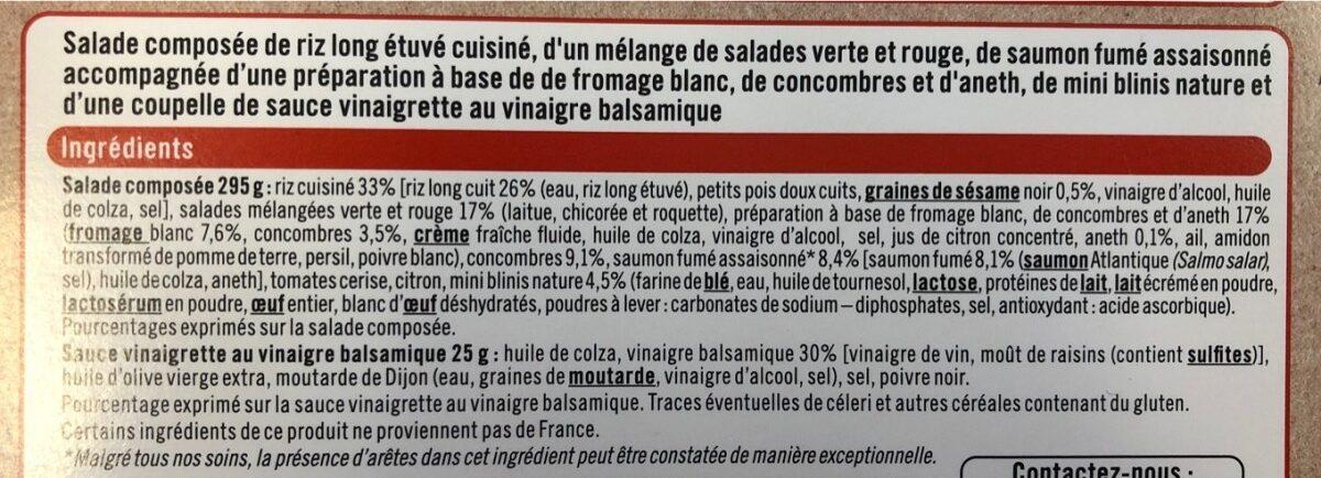 Salade addict saumon fumé mini blini tzatziki sauce au vinaigre balsamique - Ingredients - fr