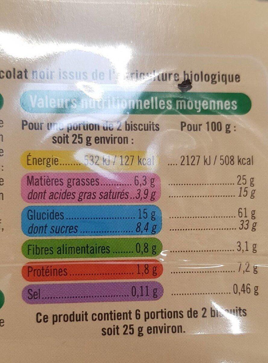 Petit beurre chocolat noir tablette - Voedingswaarden - fr