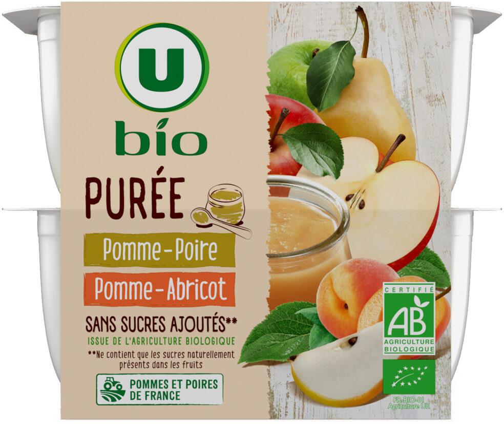 Purée pomme abricot et pomme poire sans sucre ajouté - Produit - fr