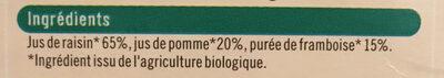 Pur jus raisin framboise - Ingredients