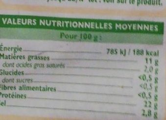 Saumon Atlantique fumé - Nutrition facts