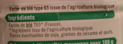 Farine de blé type 65 bio - Ingredients