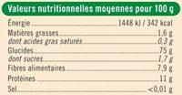 Farine T110 semi-complète - Informations nutritionnelles - fr