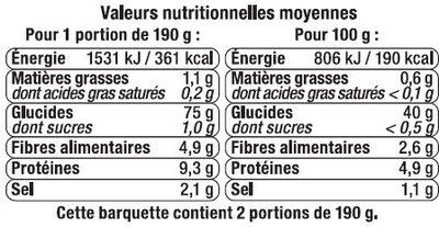 Gnocchi aux flocons de pommes de terre - Nutrition facts
