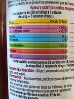 Sirop de framboise - Nutrition facts