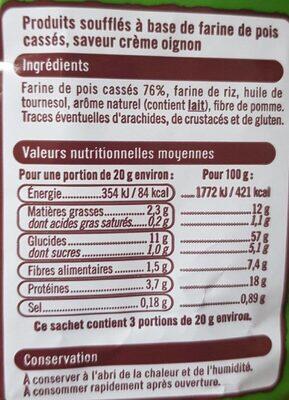 Snack Pois saveur Crème oignon - Nutrition facts
