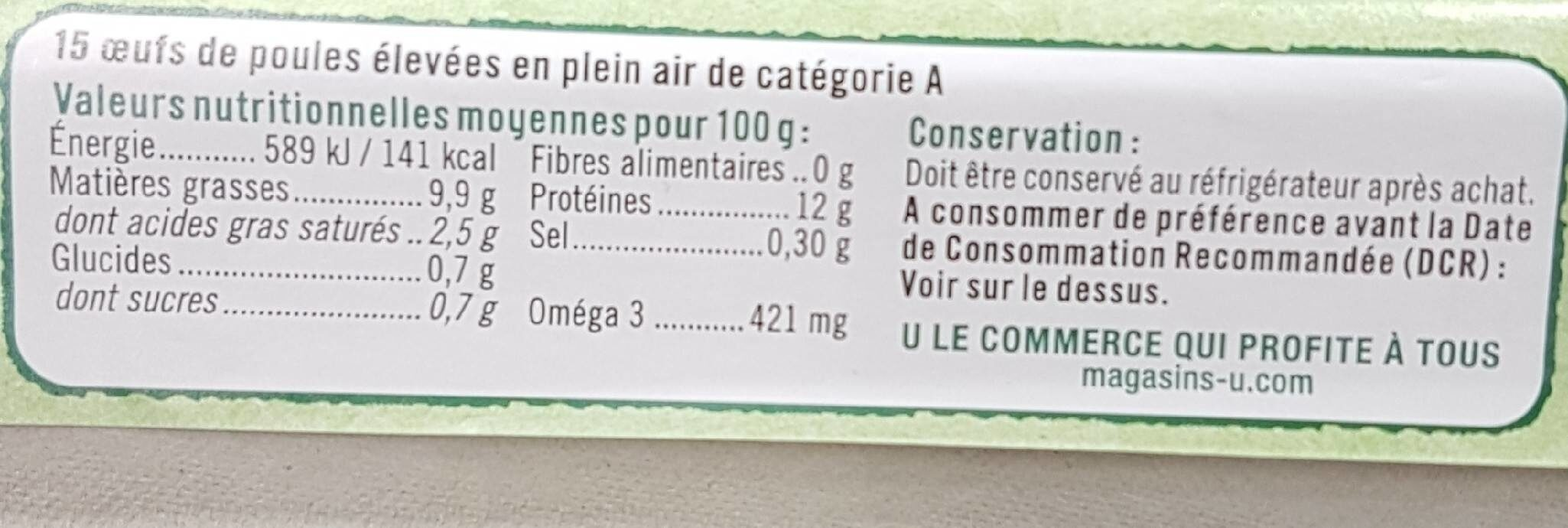 Oeufs poules plein air tous calibres - Voedingswaarden - fr