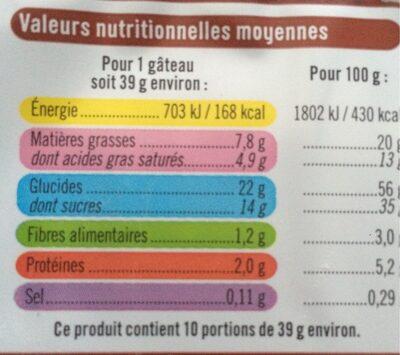 Moelleux Cacao fourrés au lait - Voedingswaarden