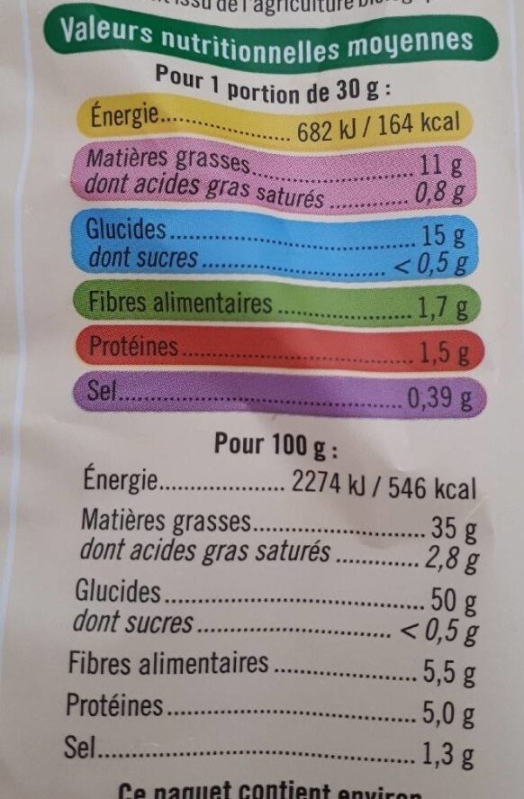 Chips nature bio - Informations nutritionnelles - fr