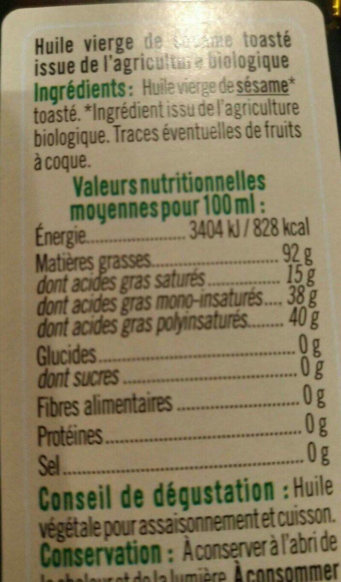 Huile sésame toastée - Informations nutritionnelles - fr