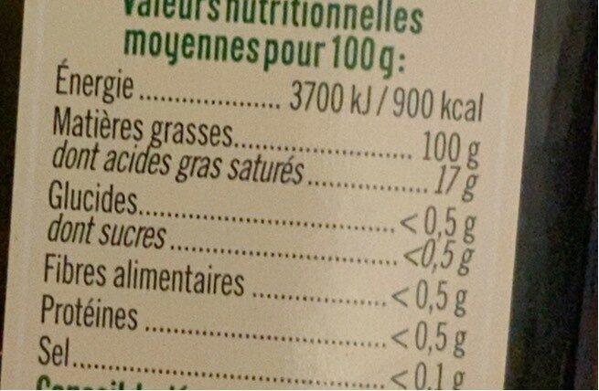 Huile d'olive vierge extra - Valori nutrizionali - fr