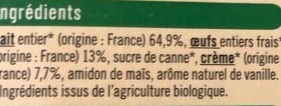 Crème aux oeufs vanille - Ingrédients - fr