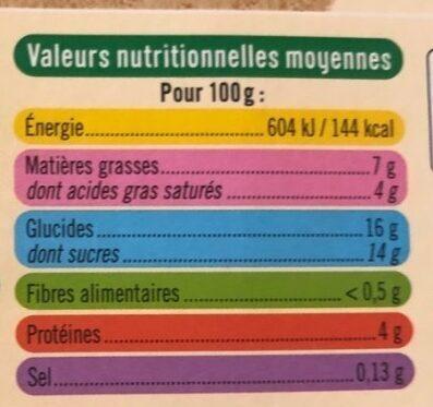 Crème aux oeufs vanille - Informations nutritionnelles - fr