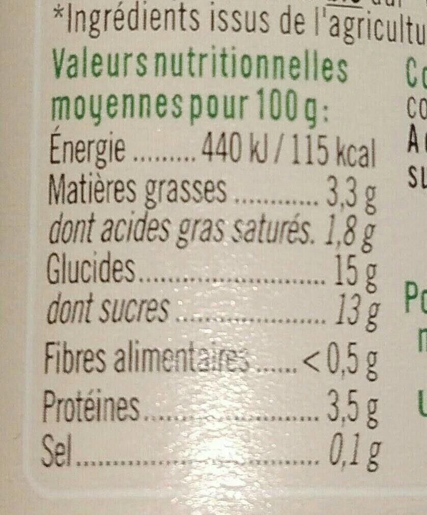 Semoule au lait - Informations nutritionnelles - fr
