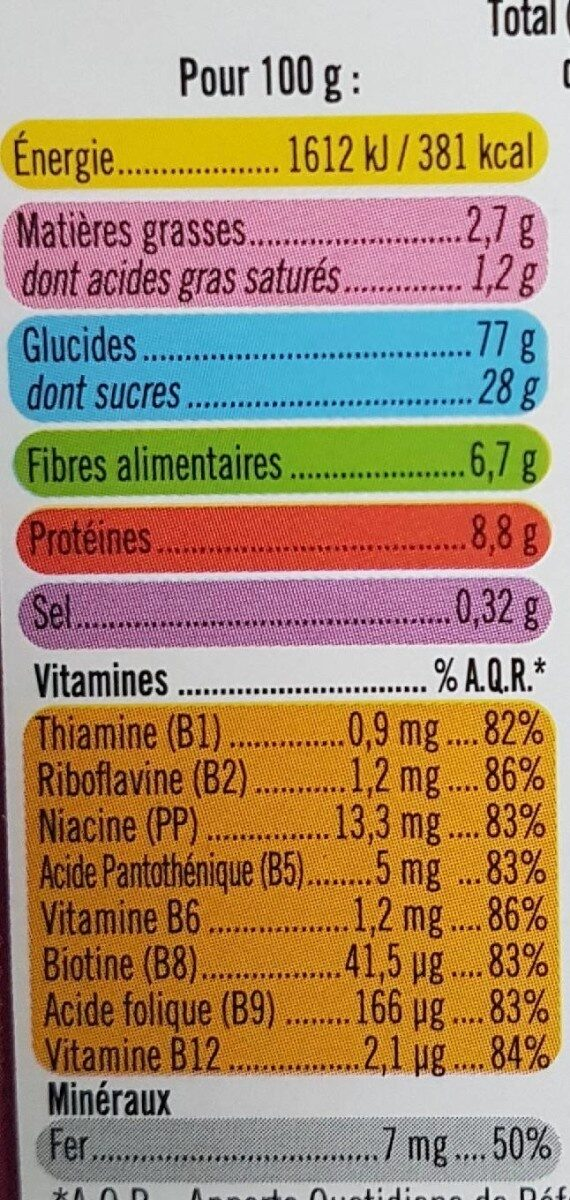 Céréales pétales blé goût choco. - Nutrition facts - fr