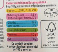 Crêpes de froment jambon emmental - Informations nutritionnelles - fr