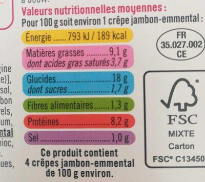 Crêpes de froment jambon emmental - Informations nutritionnelles