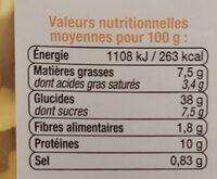 Ravioli aux 4 fromages - Valori nutrizionali - fr