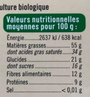 Chocolat noir 85% - Nutrition facts - fr