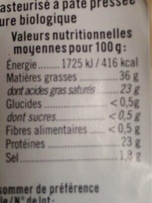 Tomme de brebis lait pasteurisé 36%mg - Valori nutrizionali - fr