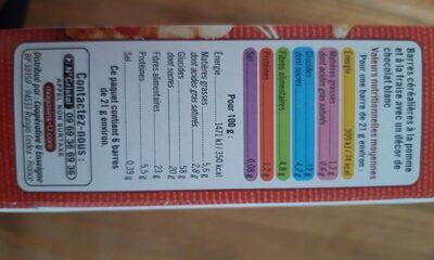 Barres de céréales fraise - Nutrition facts