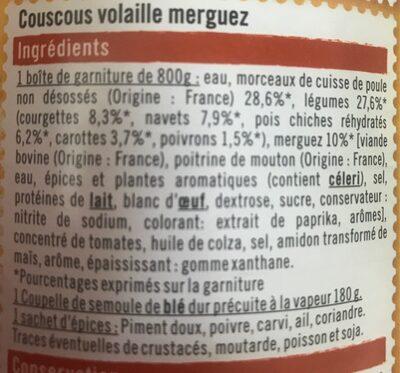 Couscous volaille/merguez - Informations nutritionnelles - fr