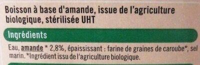 Boisson amande légère - Ingrédients - fr