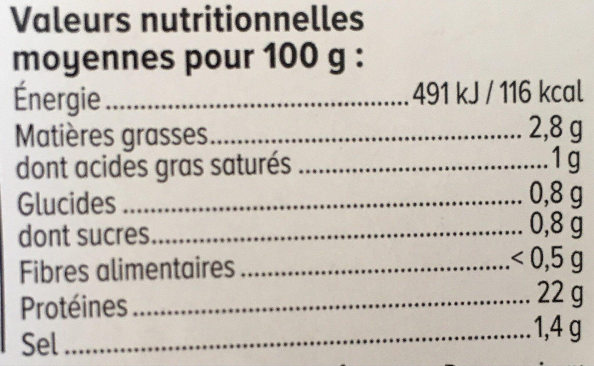 Jambon Le supérieur Sans couenne -25% de sel - Informations nutritionnelles - fr