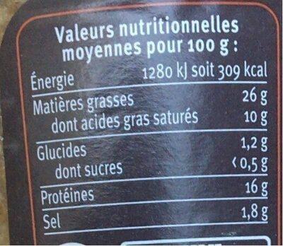 Terrine de cerf aux cranberries - Informations nutritionnelles - fr