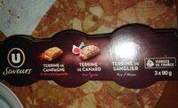 Terrine camp.piment+cnrd poivre vrt+sanglier U_SAVEURS 3x90gTerrine camp.piment+cnrd poivre vrt+sanglier - Produit - fr
