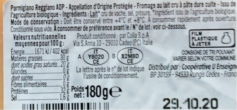 Pointe parmigiano reggiano lait cru 18 mois d'affinage AOP 30%MG - Valori nutrizionali - fr
