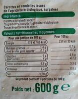 Carottes rondelles - Informations nutritionnelles - fr