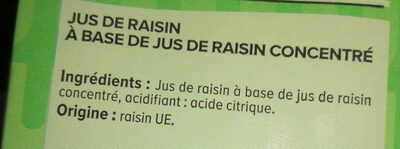 Jus de raisin à base de concentré - Ingrediënten - fr