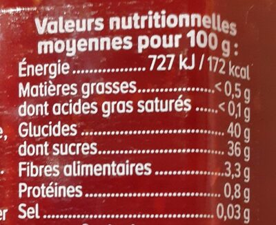 Confiture framboise 65% de fruits - Informations nutritionnelles - fr