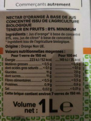 Nectar orange - Valori nutrizionali - fr