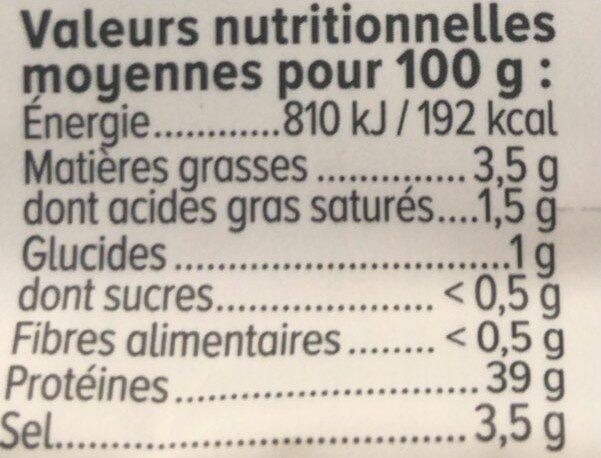 Viande de grison -25% de sel - Valori nutrizionali - fr