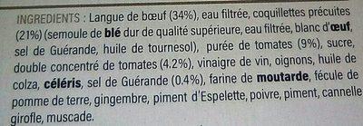 Langue de Bœuf, Sauce Tomates Cuisinées et ses Coquillettes - Ingrediënten - fr