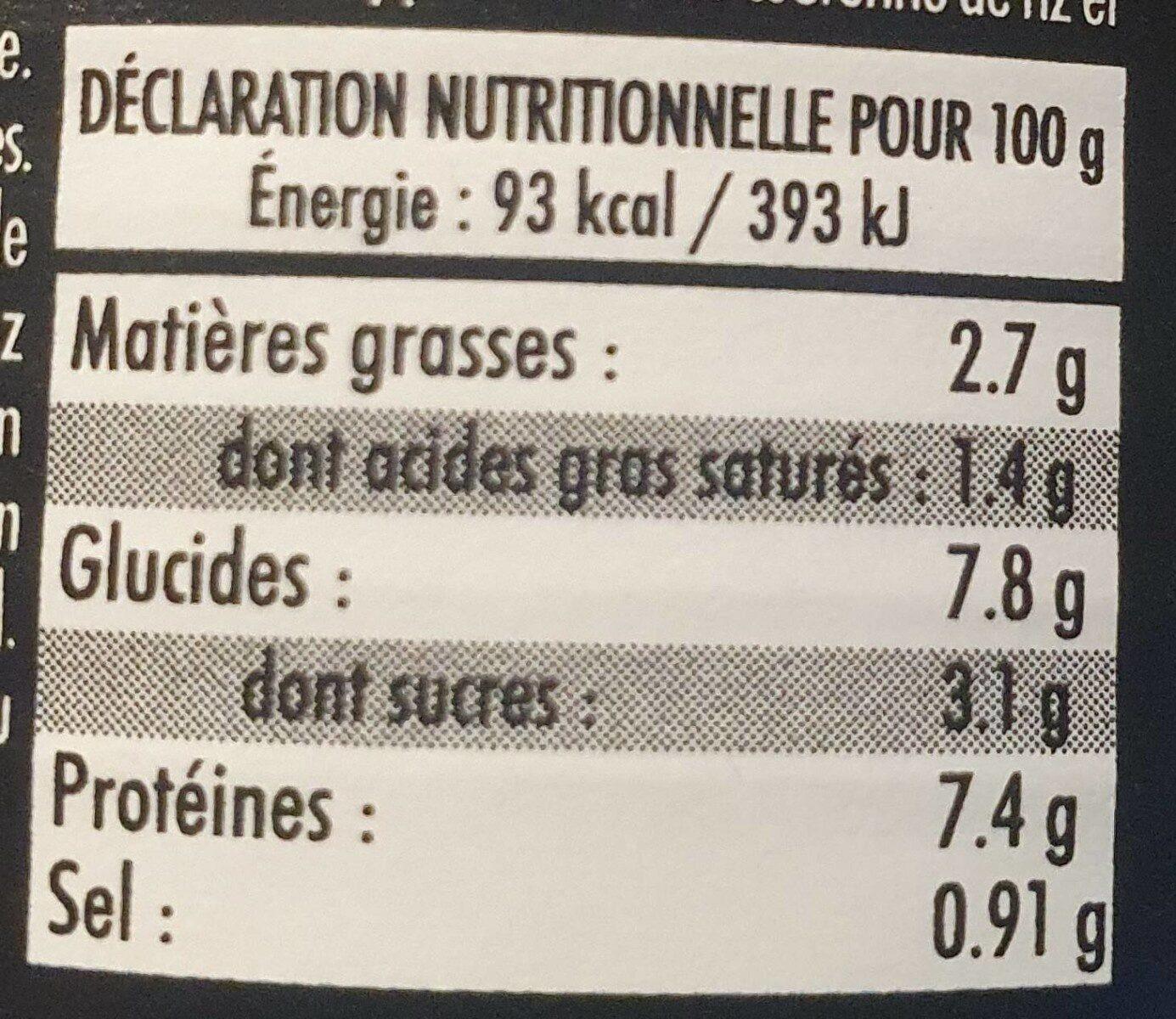Larzul garniture vol au vent homard noix st jacques - Nutrition facts - fr