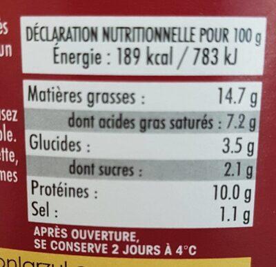 Langue de boeuf - Informations nutritionnelles - fr