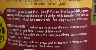 Langue de Boeuf Sauce Madère - Ingrédients - fr