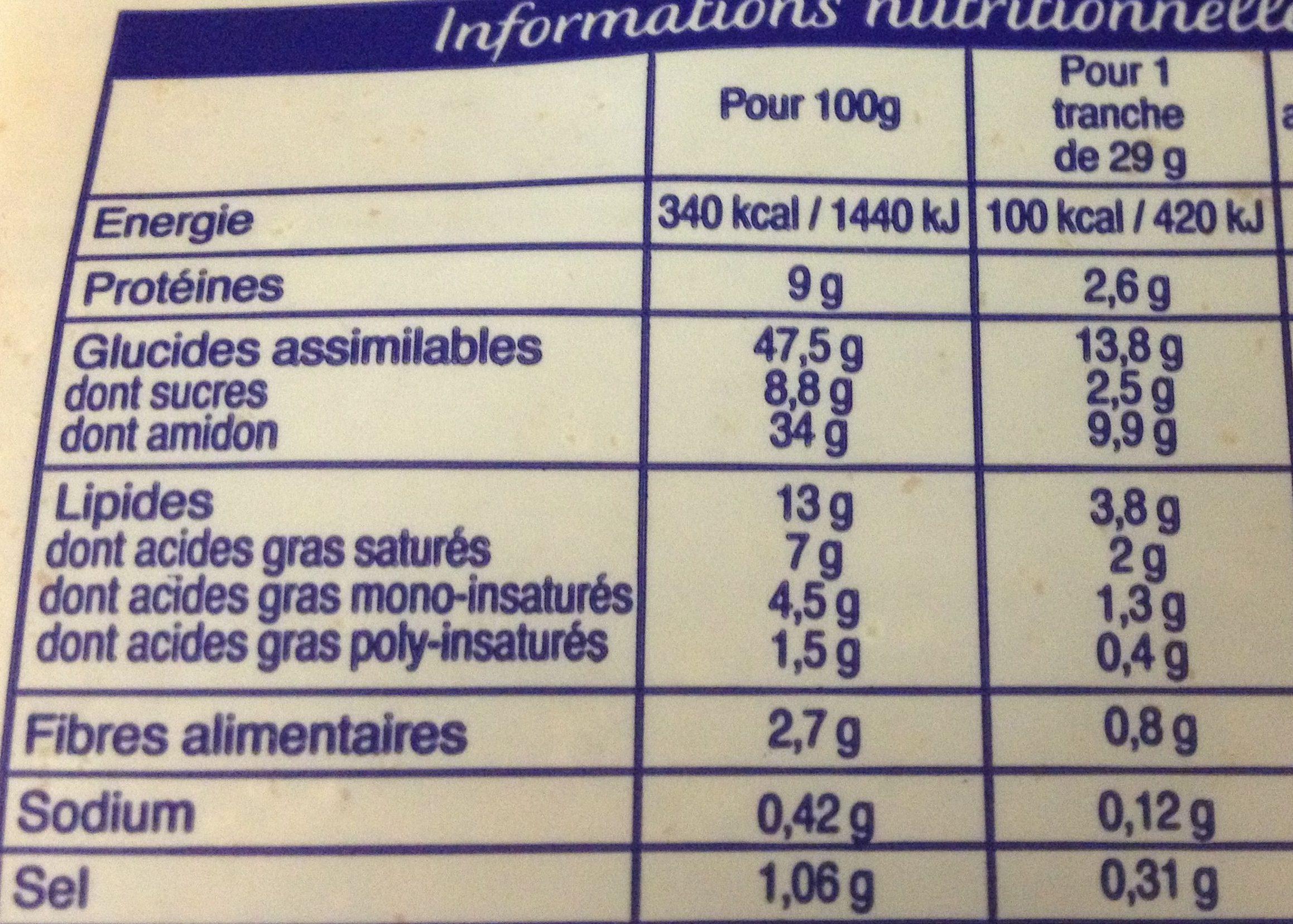 Brioche en tranches au levain - 500 g - Brioche Pasquier - Voedingswaarden