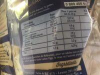 Pains au lait x 20 - Valori nutrizionali - fr