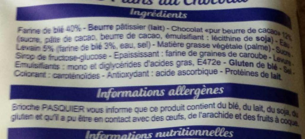 Pains au Chocolat au levain (Maxi Familial) - Ingrédients - fr