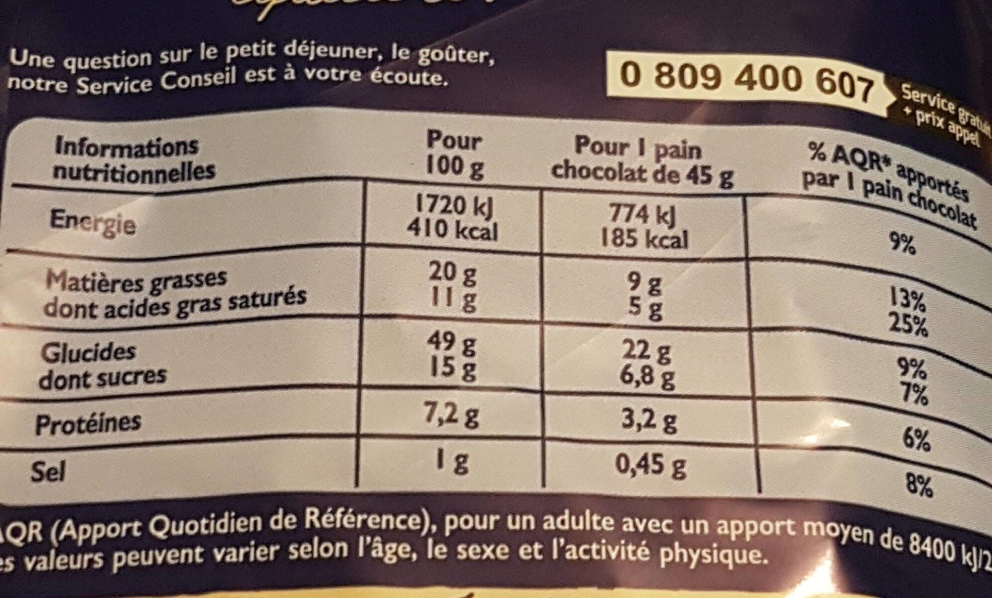 Pains au chocolat format familial - Nutrition facts - fr