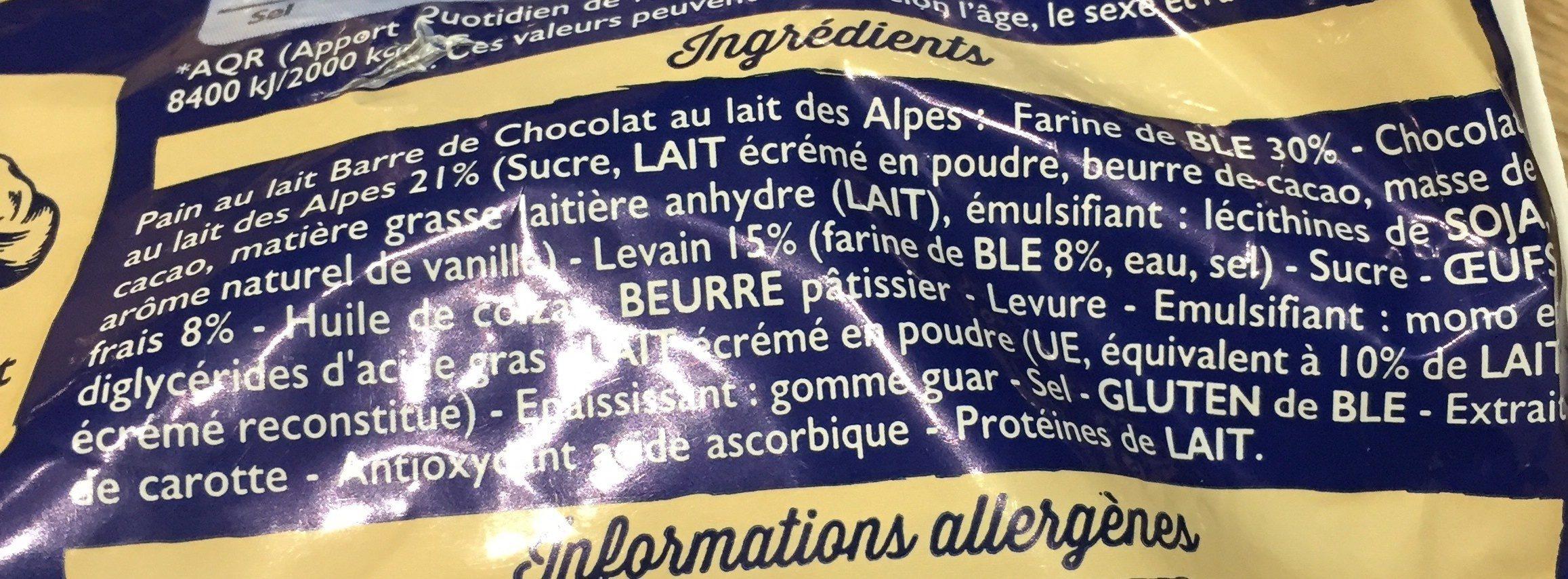 Pains au lait barre chocolat - Ingrediënten - fr