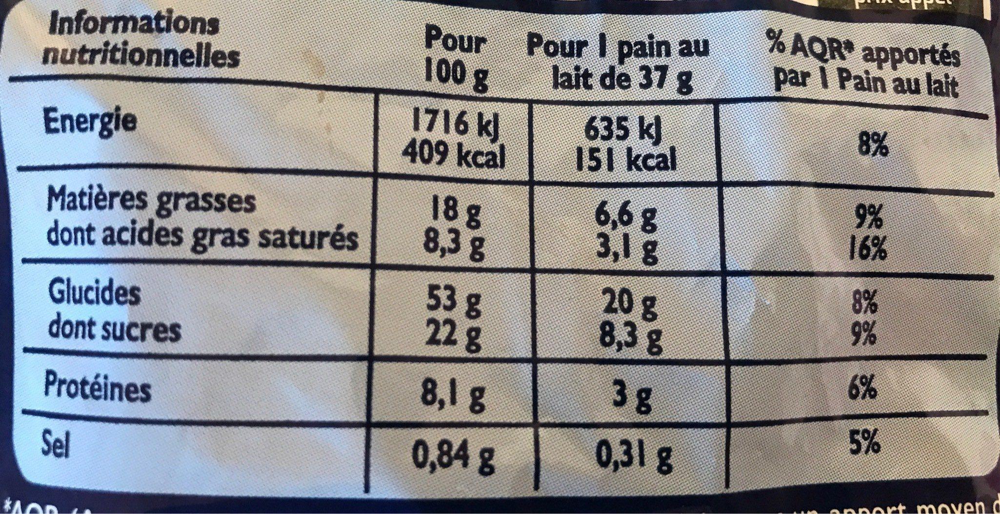 Pains au lait barre chocolat - Informations nutritionnelles - fr