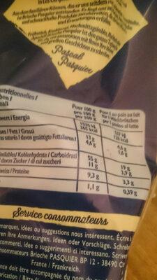 Brioches - Informations nutritionnelles