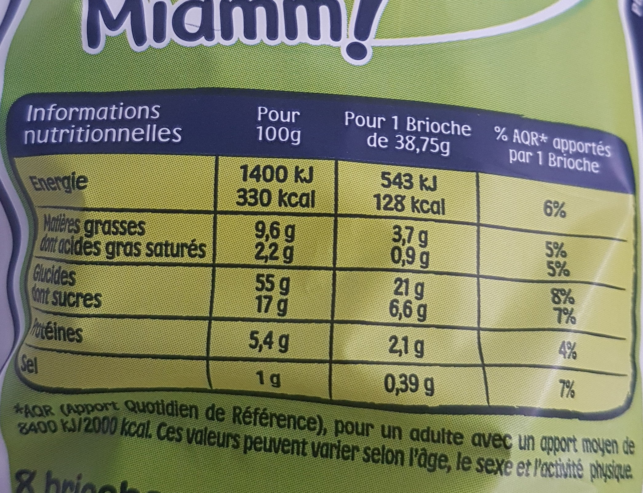 Pitch - Informations nutritionnelles - fr