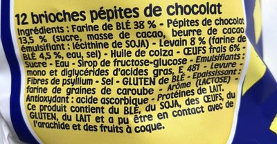 Pitch - Brioches pépites de chocolats - Ingredients - fr