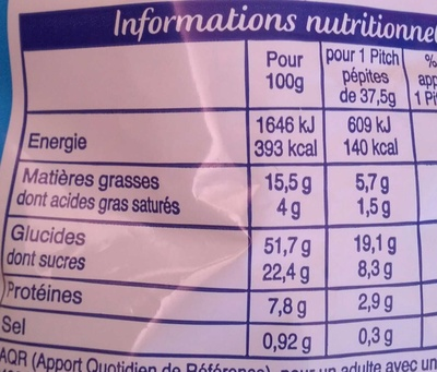 Pitch - Brioches pépites de chocolats - Nutrition facts - fr